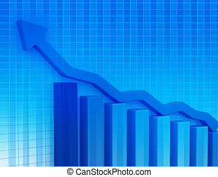 Business Graph on abstract blue background