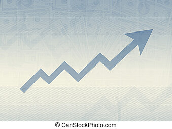 business graph on blue background