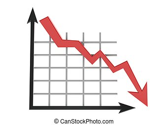 Business graph showing lose - Rendered artwork with white...