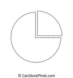 Business graph sign. Vector. Black dotted icon on white background. Isolated.