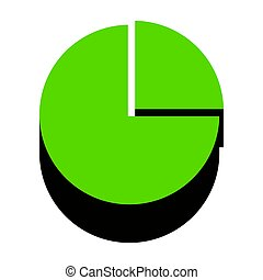 Business graph sign. Vector. Green 3d icon with black side on wh