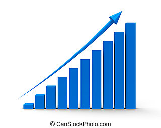 Business graph up - Blue business graph with blue arrow up,...