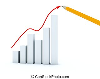 Business graph with arrow and yellow pencil