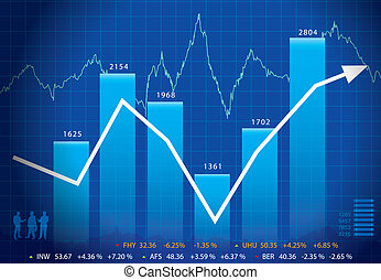 Business graph with arrow showing profits and gains...