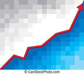 business graph with arrow, positive business graph