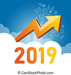 Business graph with arrow up and 2019 symbol, Success concept and growth idea illustration