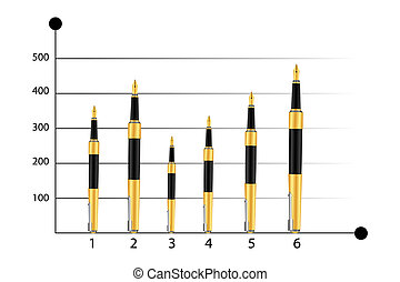 business graph with pens