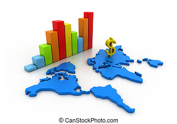 Business graph with world map