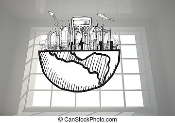 Business graphic in bright room