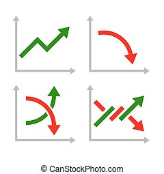 Business Graphic Set with Red and Green Arrows. Vector