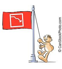 business, graphique, échec, drapeau, dessin animé, élévation
