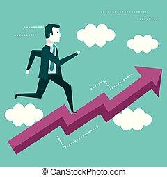 business, graphique, haut, courant, flèche, homme affaires, vision