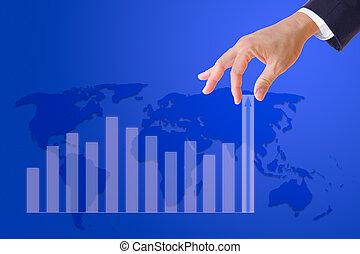 business, graphique, haut, main, apporter, homme