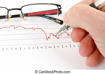 business, graphique, hommes, analyser, fond, lunettes