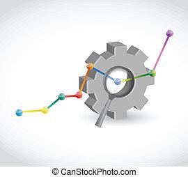 business, graphique, industriel, engrenage, illustration