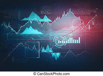 business, graphique, résumé, diagramme, uptrend, ligne