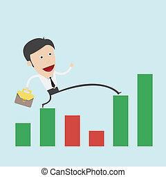 business, graphique, sur, négatif, étape, homme