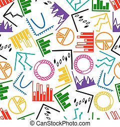Business graphs and charts seamless pattern