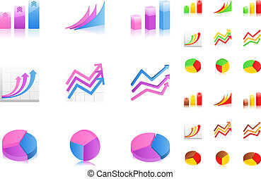 Business graphs icons