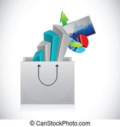 business graphs inside a shopping bag.
