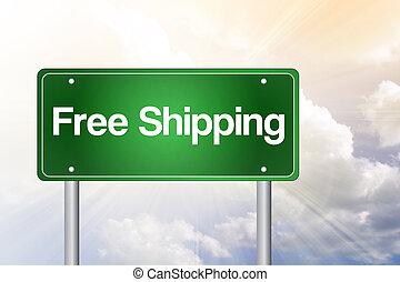 business, gratuite, route, expédition, signe, vert, concept