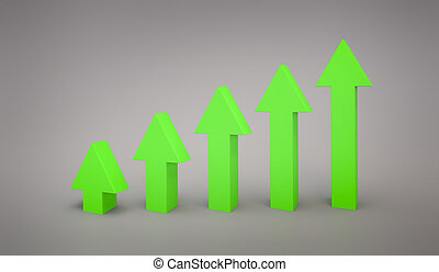 business Green arrow line graph pointing up 3d rendering