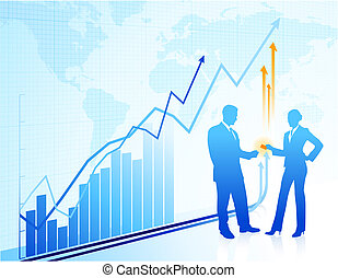 Business greeting background with world map