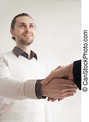 Business greeting handshake, shaking hands with partner, client,