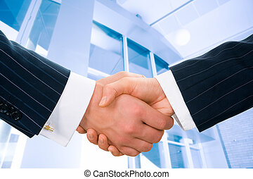Business greeting - Image of businesspeople handshake on the...