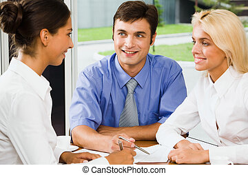 Business group at a meeting