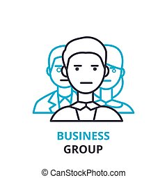 Business group concept , outline icon, linear sign, thin line pictogram, logo, flat vector, illustration