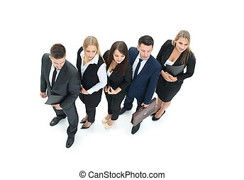 Business group in a row isolated over a white background. High v