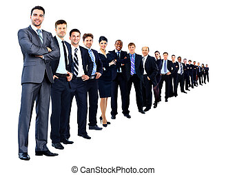 Business group in a row isolated