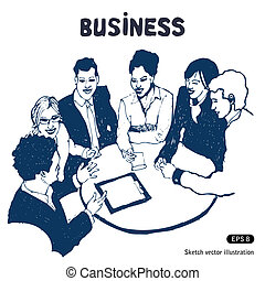 Business group portrait - Six business people working...