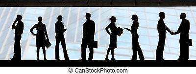 Several silhouettes of businesspeople interacting over blue background