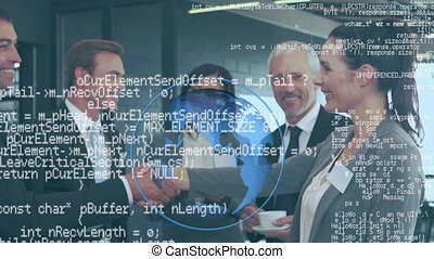 Business group shaking hands and digital data