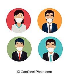 business, groupe, masque, utilisation, gens, figure