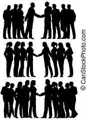 Business groups - Three sets of silhouettes of business...