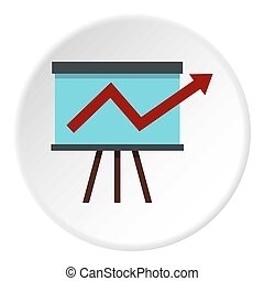 Business growing chart presentation icon circle
