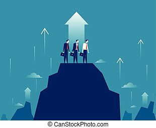 Business growt. Businessman team standing on mountain peak to success. Concept business vector illustration.
