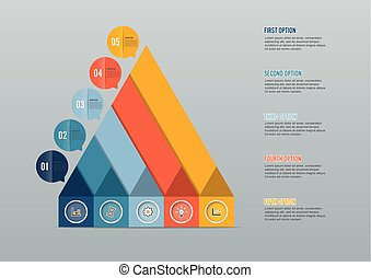 Business growth 5 step infographics option. Template for presentation and workflow layout. Abstract background.