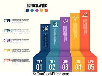 abstract business 5 step staircase infographics vector illustration