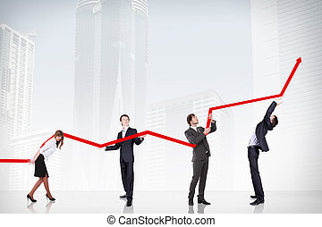 Business Growth And Success Graph - business people pushing...