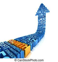 Business growth arrow, 3d render