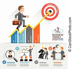 Business Growth Arrow Strategies Concept. Businessman walking on arrow. Vector illustration. Can be used for workflow layout, banner, diagram, number options, step up options, web design, timeline, infographic template