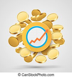 Business growth arrow with gold coins.