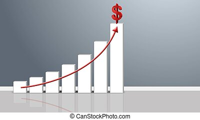 Business Growth Bar Graph with Rising Arrow and Dollar sign