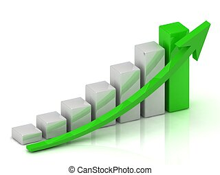 Business growth chart of the bars and the green arrow on a...