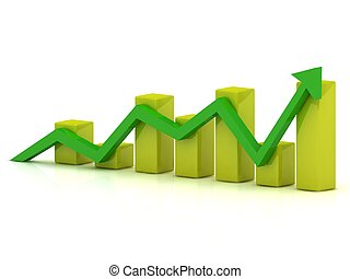 Business growth chart of the yellow bars and the green arrow...