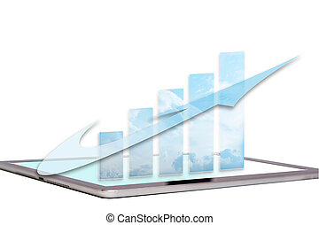 Business growth chart with arrow on computer screen